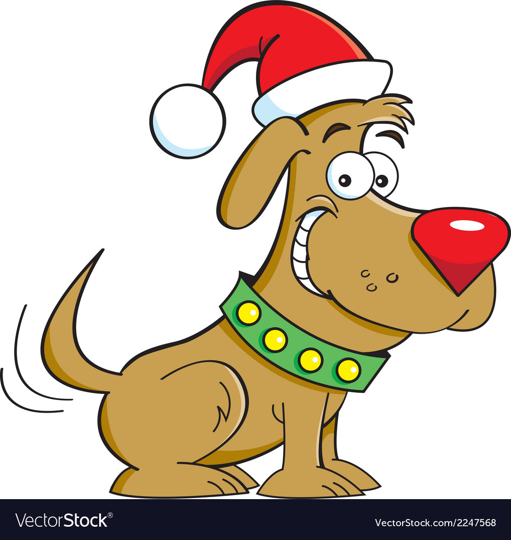 Cartoon santa dog vector | Price: 1 Credit (USD $1)