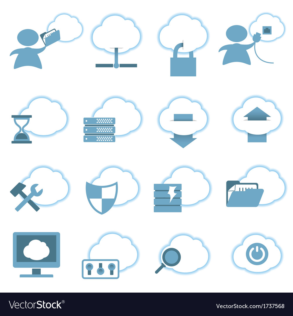 Cloud hosting icons set vector | Price: 1 Credit (USD $1)