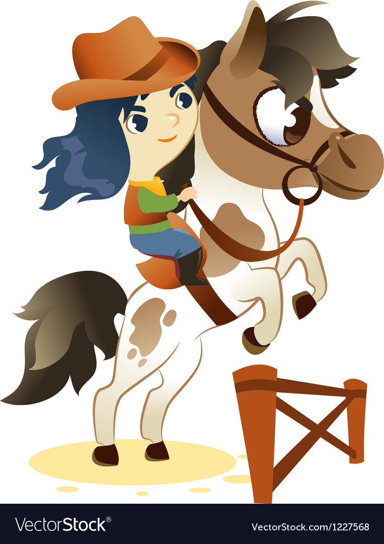 Cowgirl on small horse jumping a hurdle vector | Price: 3 Credit (USD $3)