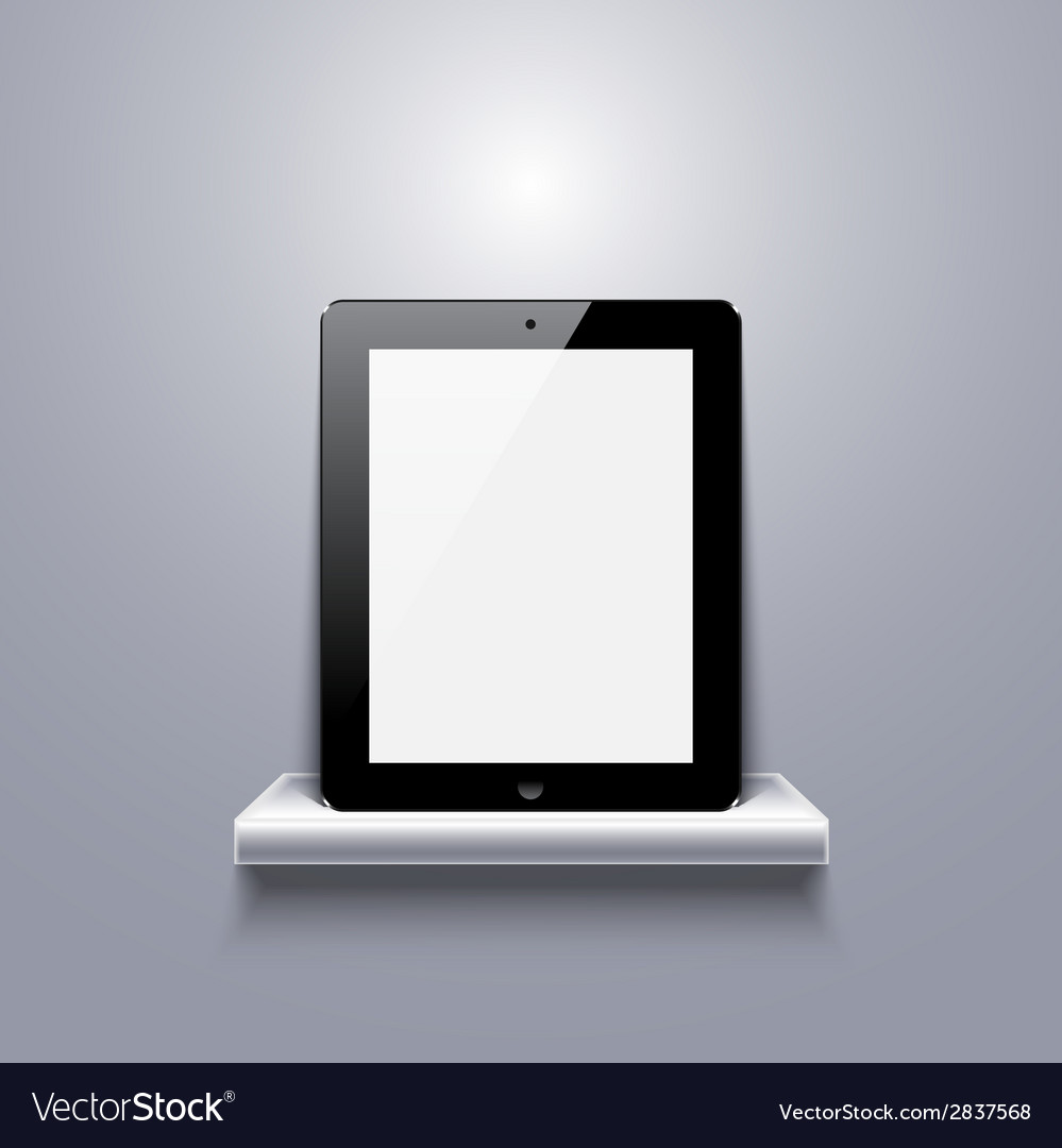 Modern computer tablet on shelf vector | Price: 1 Credit (USD $1)