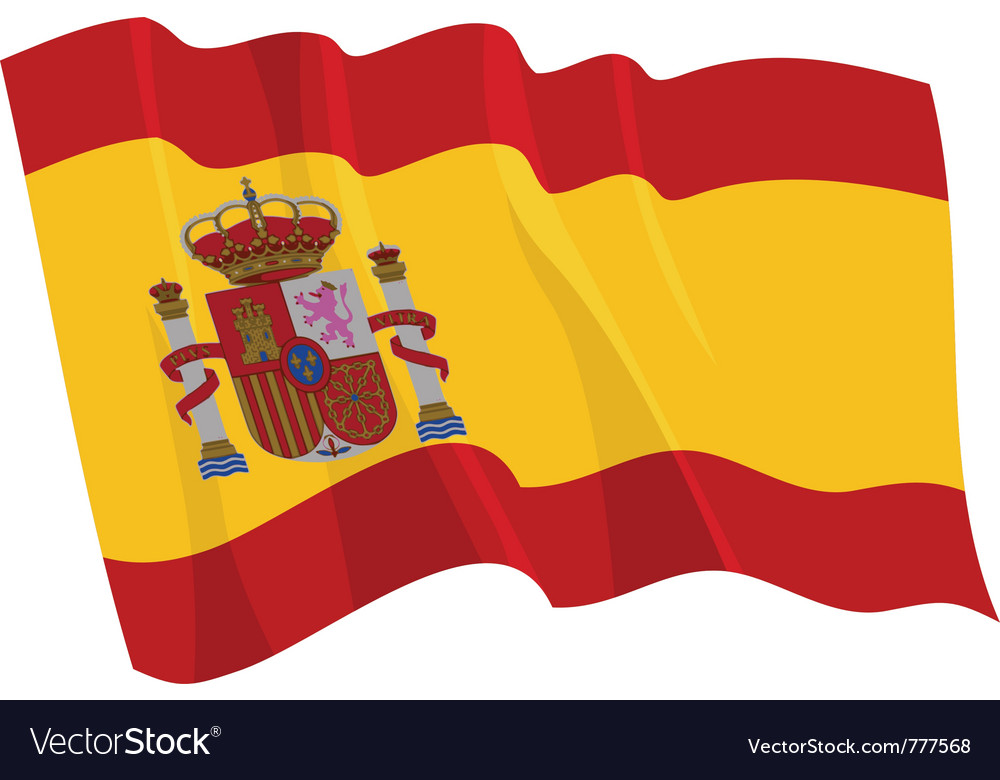 Political waving flag of spain vector | Price: 1 Credit (USD $1)
