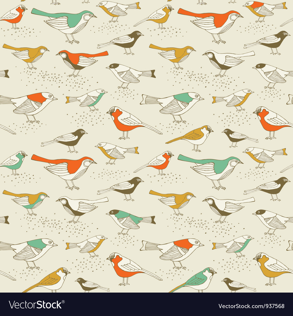 Retro sparrow birds pattern vector | Price: 1 Credit (USD $1)