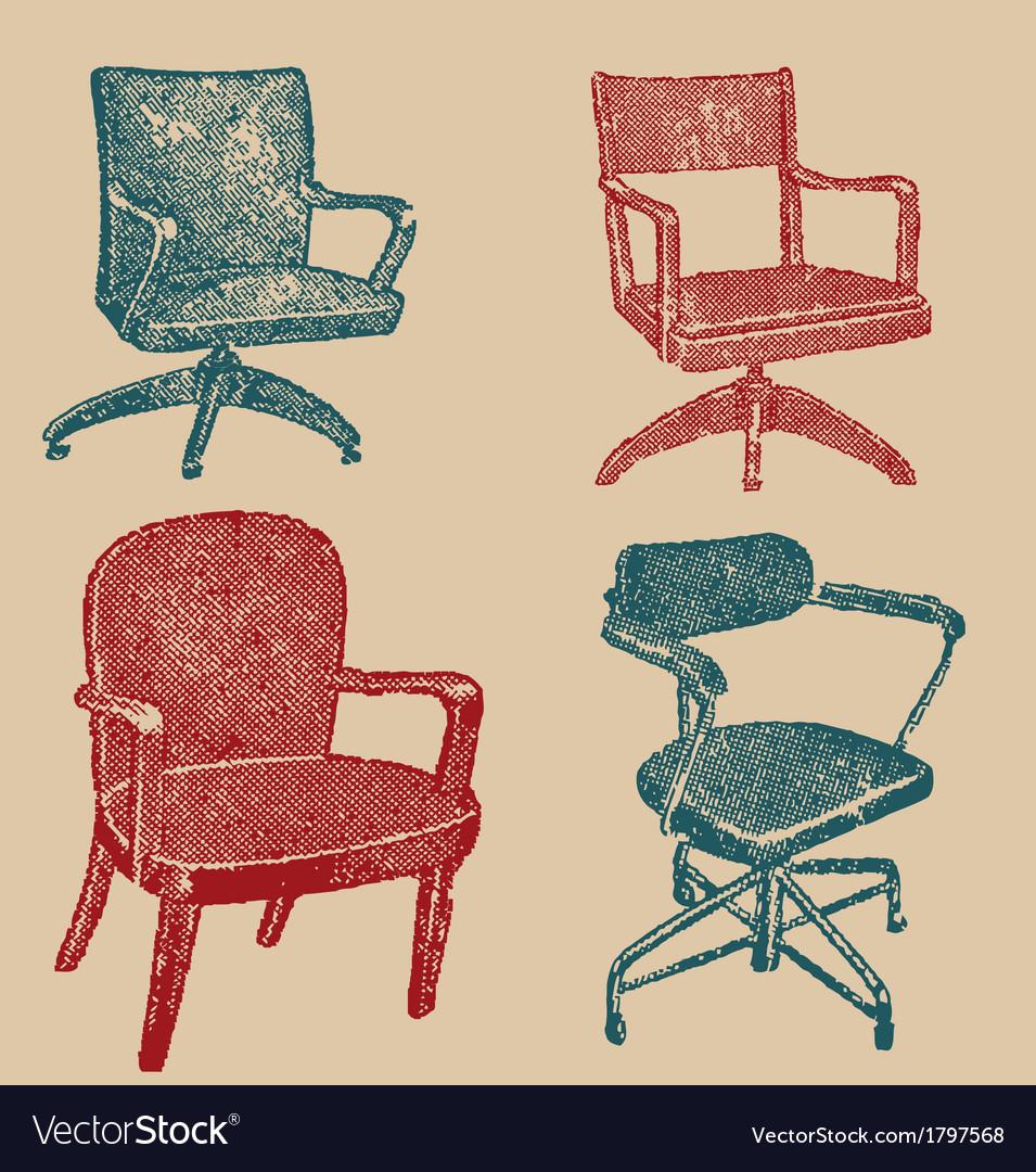 Seats set in retro stile vector | Price: 1 Credit (USD $1)