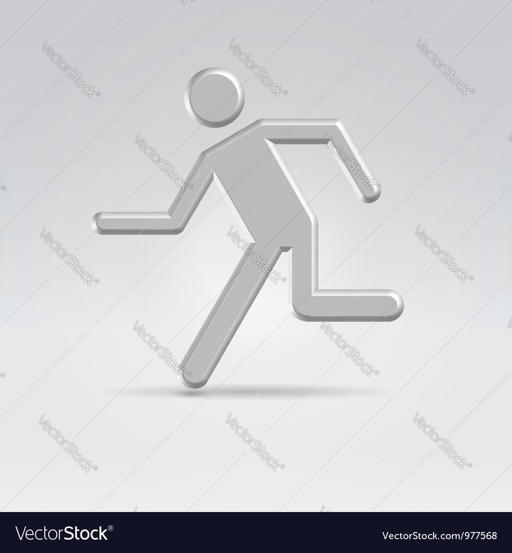 Silver exit running man icon vector | Price: 1 Credit (USD $1)