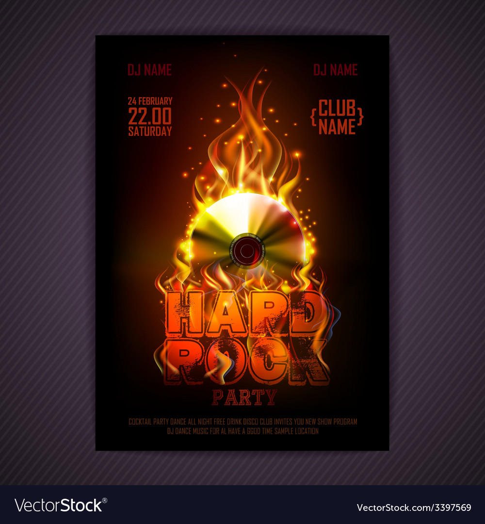 Disco poster fire hard rock background vector | Price: 3 Credit (USD $3)