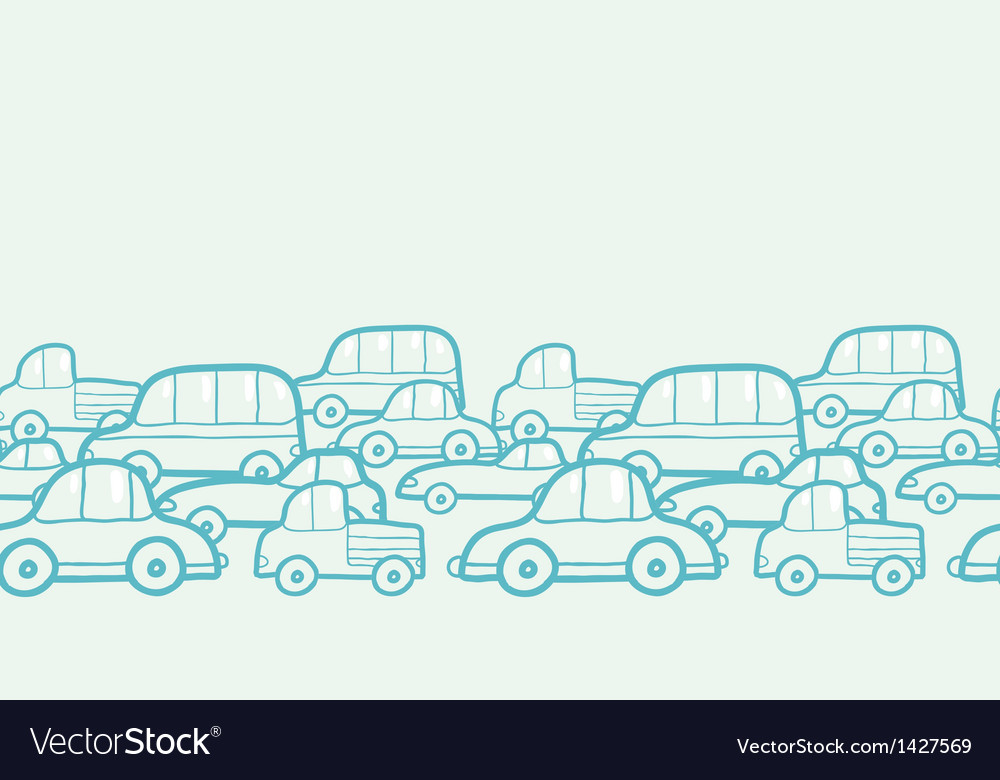 Doodle cars horizontal seamless pattern background vector | Price: 1 Credit (USD $1)
