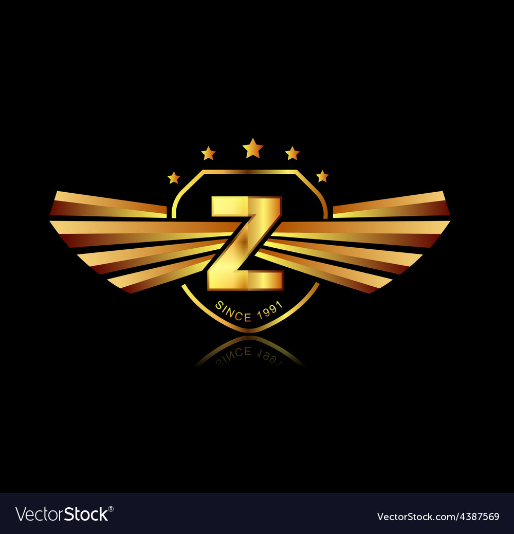 Letter z winged crests logo alphabet logotype vector | Price: 1 Credit (USD $1)