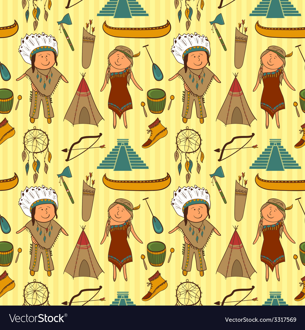 Native american indian culture seamless pattern vector | Price: 1 Credit (USD $1)