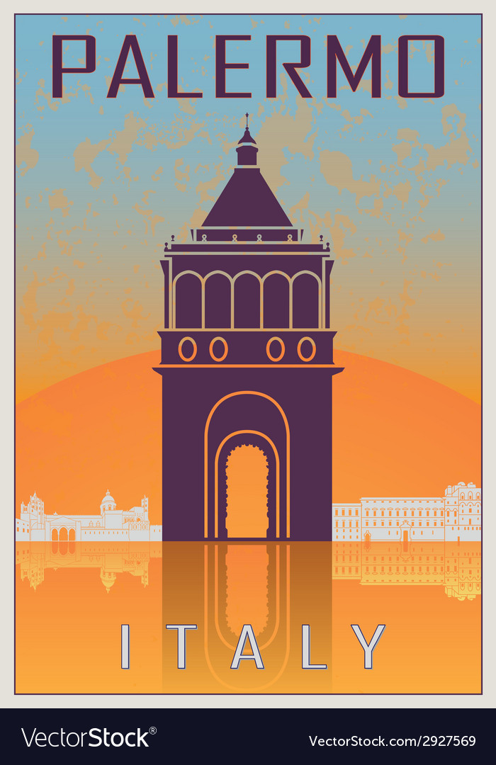 Palermo vintage poster vector | Price: 1 Credit (USD $1)