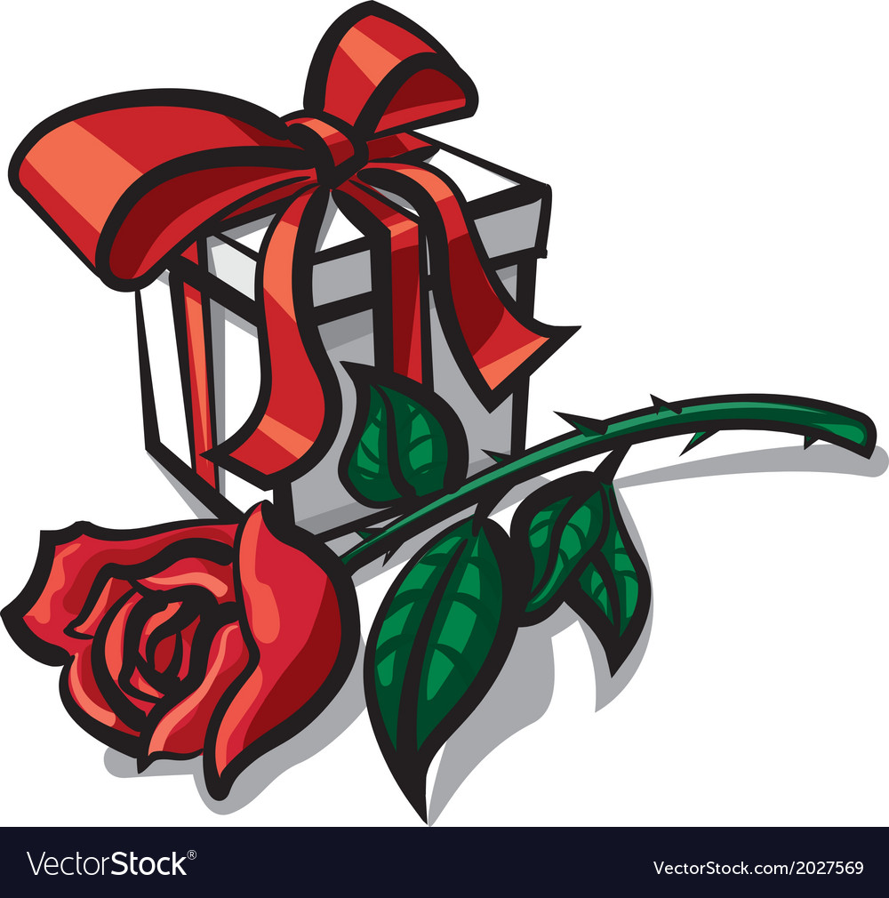 Rose and gift vector | Price: 1 Credit (USD $1)