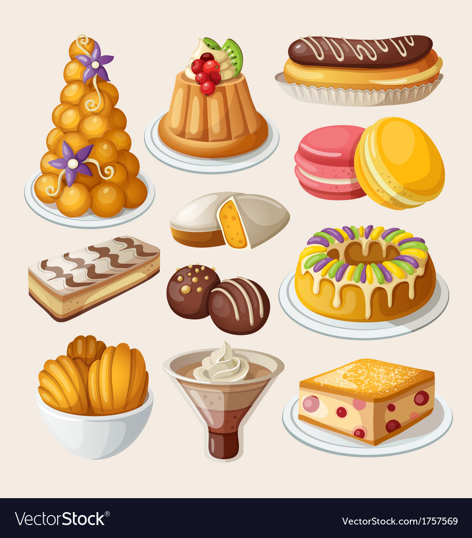 Set of traditional french desserts vector | Price: 3 Credit (USD $3)