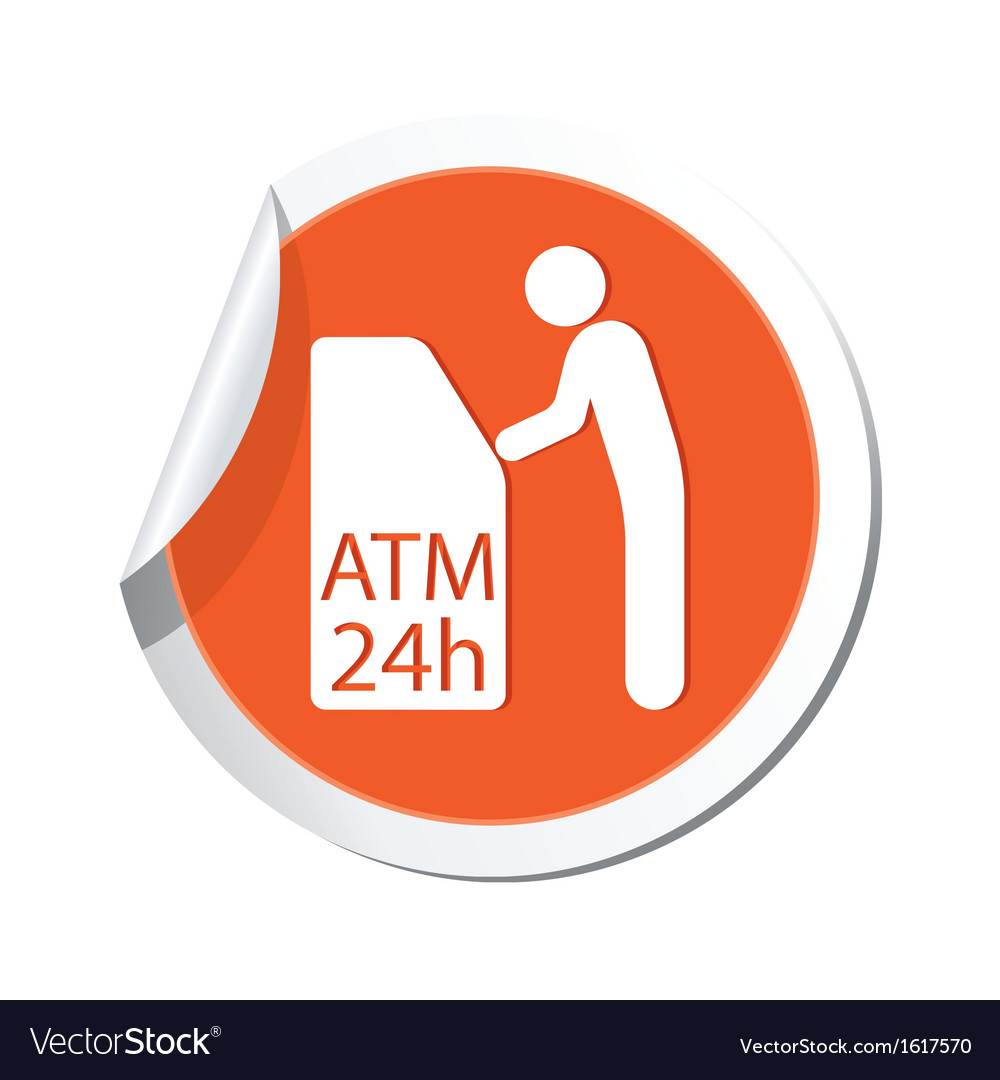 Atm cashpoint icon orange label vector | Price: 1 Credit (USD $1)