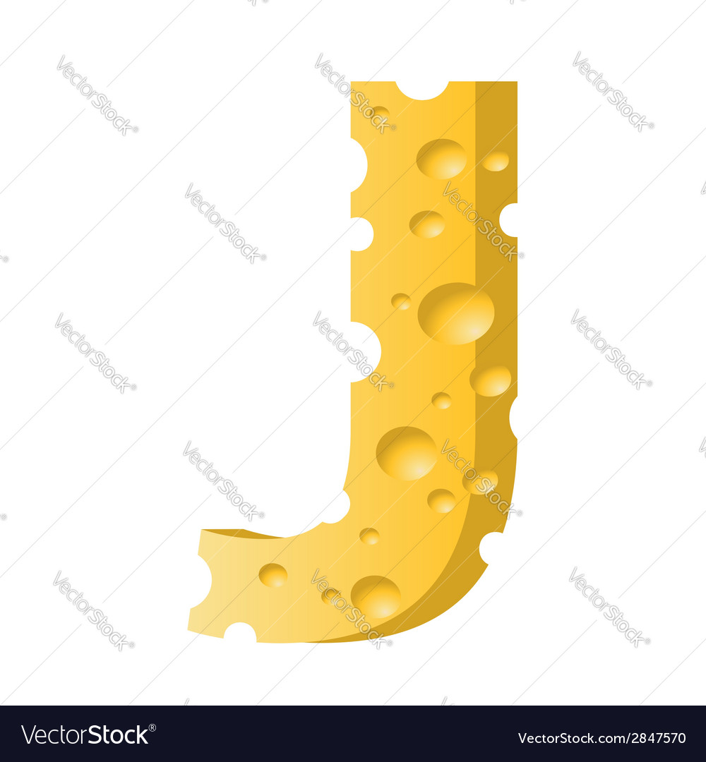 Cheese letter j vector | Price: 1 Credit (USD $1)