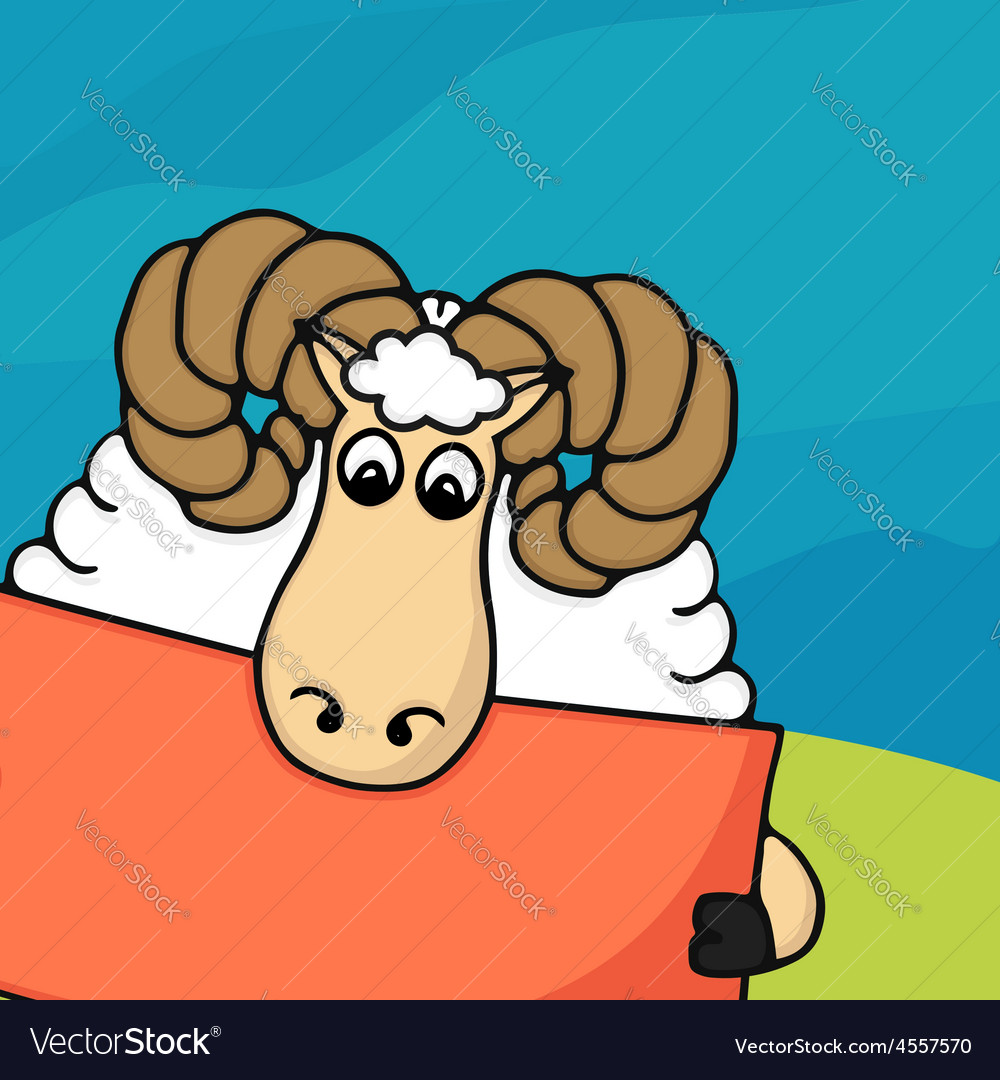 Cute hand drawn sheep with empty banner vector   Price: 1 Credit (USD $1)