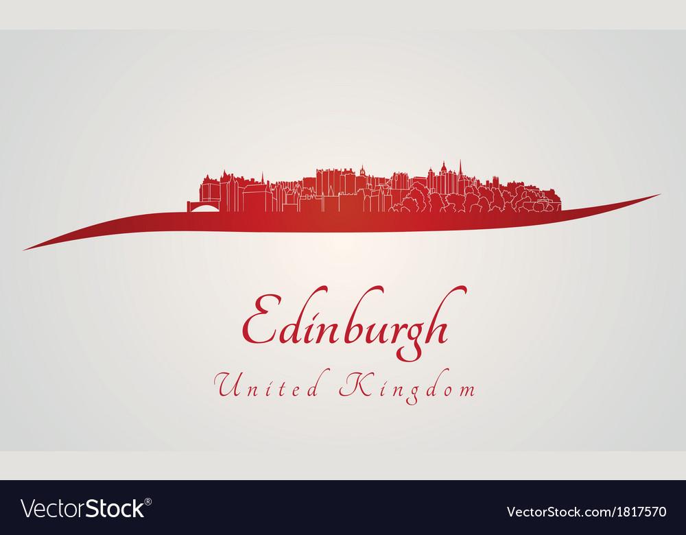 Edinburgh skyline in red vector   Price: 1 Credit (USD $1)