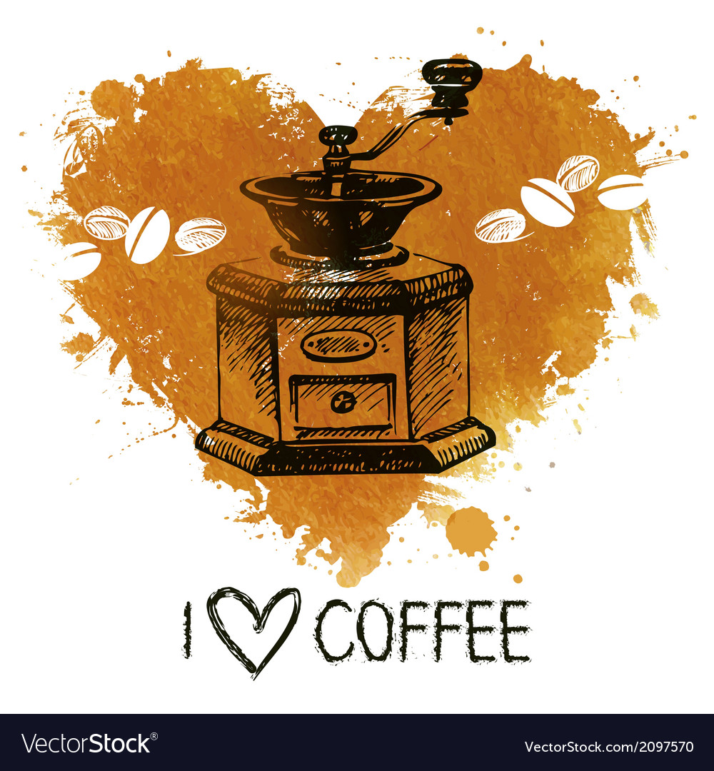 Hand drawn vintage coffee background with splash vector | Price: 1 Credit (USD $1)