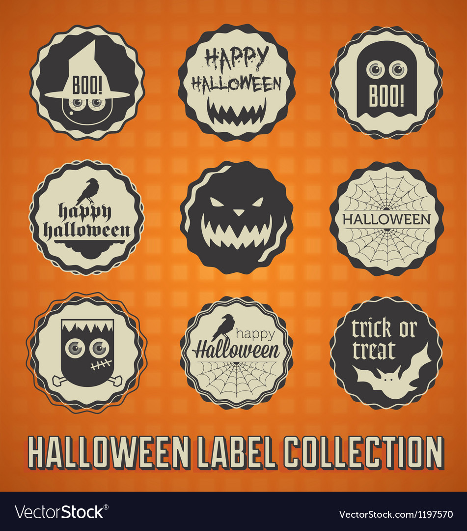 Happy halloween labels and icons vector | Price: 1 Credit (USD $1)