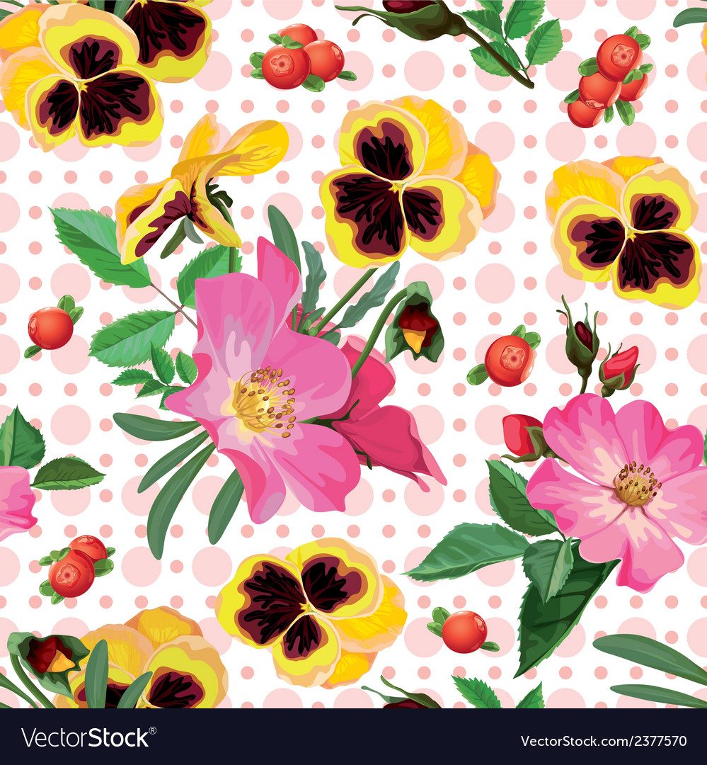 Seamless pattern of the roses the pansies and the vector | Price: 1 Credit (USD $1)