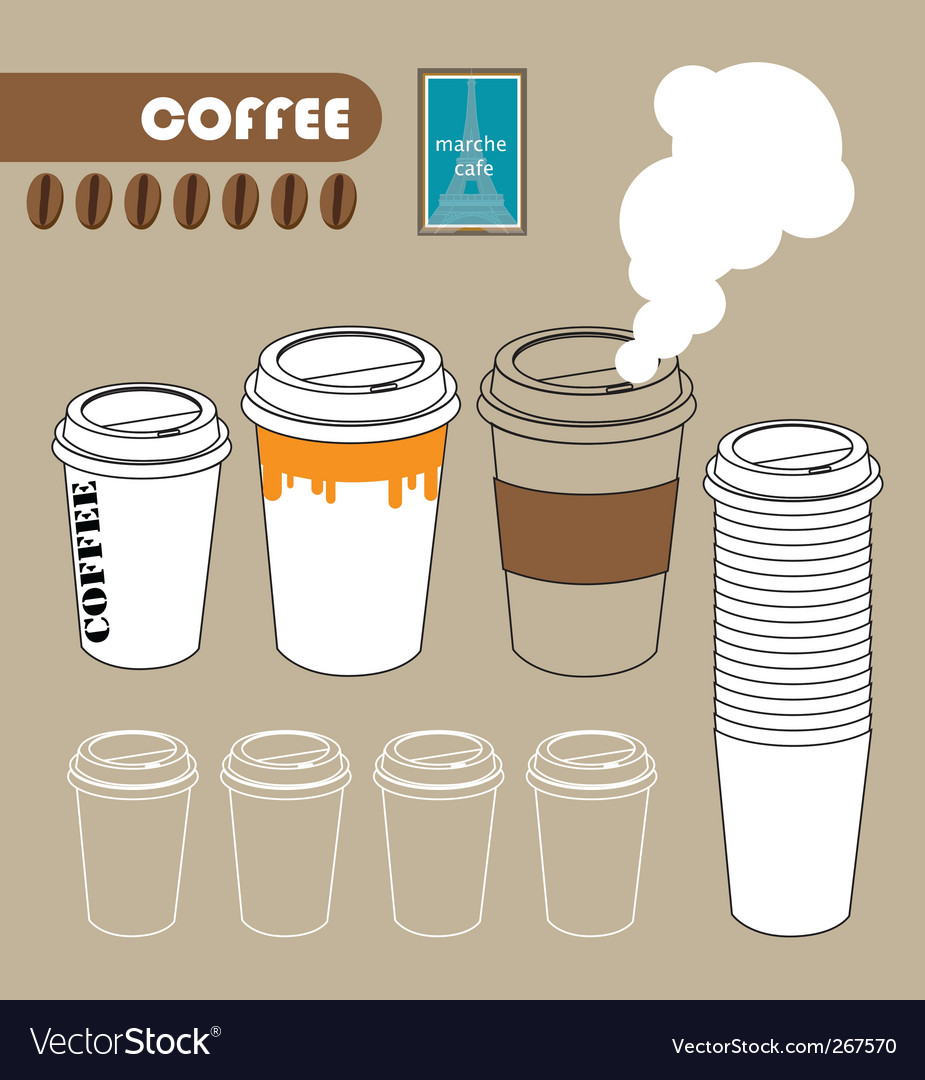 Series of paper coffee cup vector | Price: 1 Credit (USD $1)