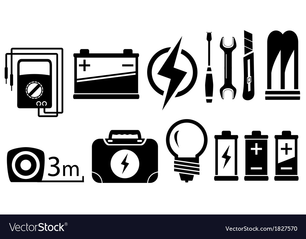 Set electrical objects vector | Price: 1 Credit (USD $1)