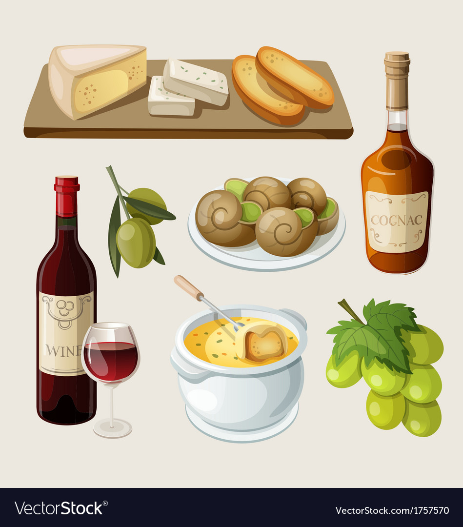 Set of traditional french drinks and appetizers vector | Price: 3 Credit (USD $3)