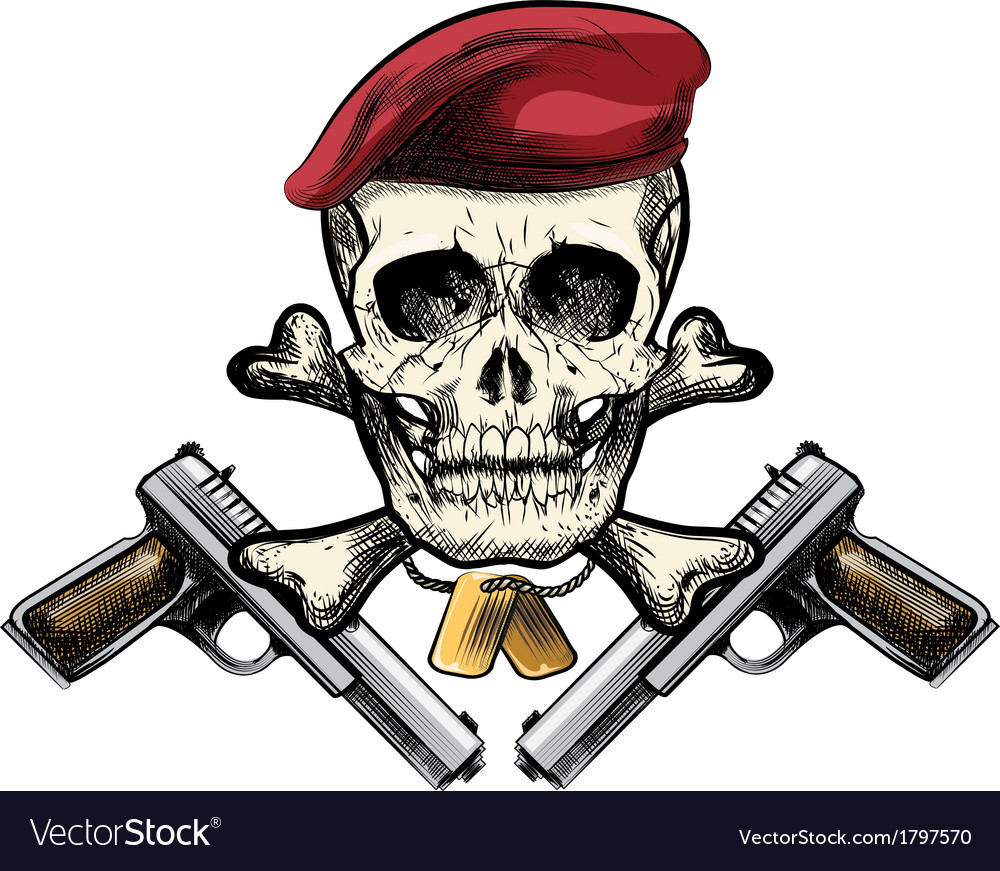 Skull in the beret vector | Price: 1 Credit (USD $1)