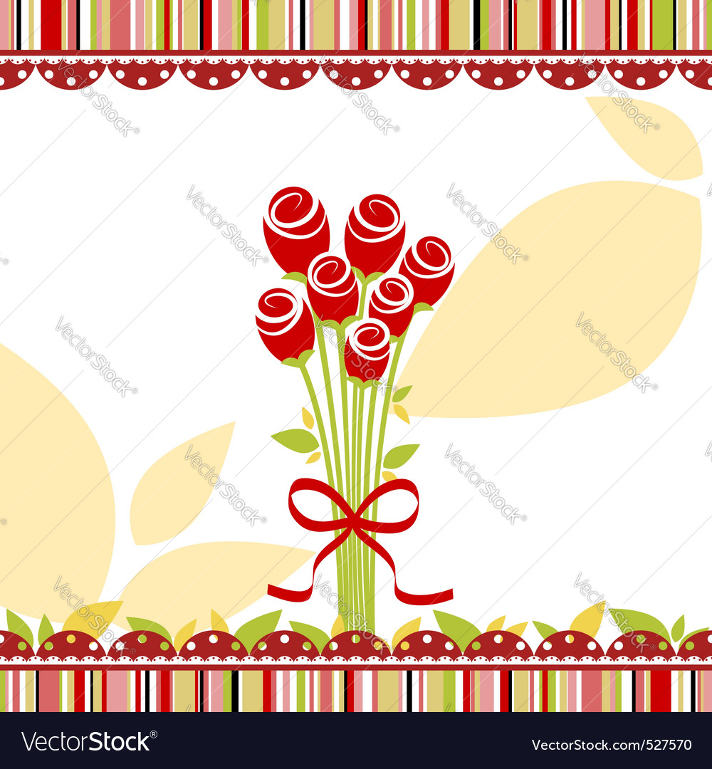 Springtime love greeting card with red rose flower vector | Price: 1 Credit (USD $1)