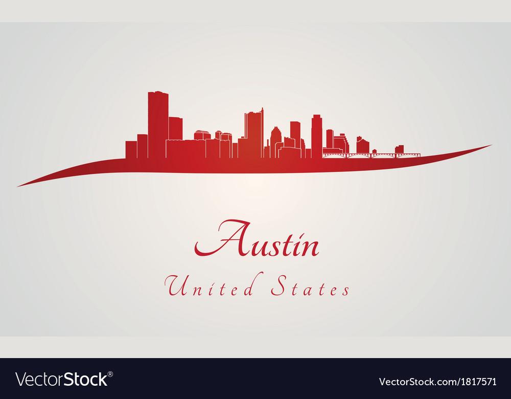 Austin skyline in red vector | Price: 1 Credit (USD $1)