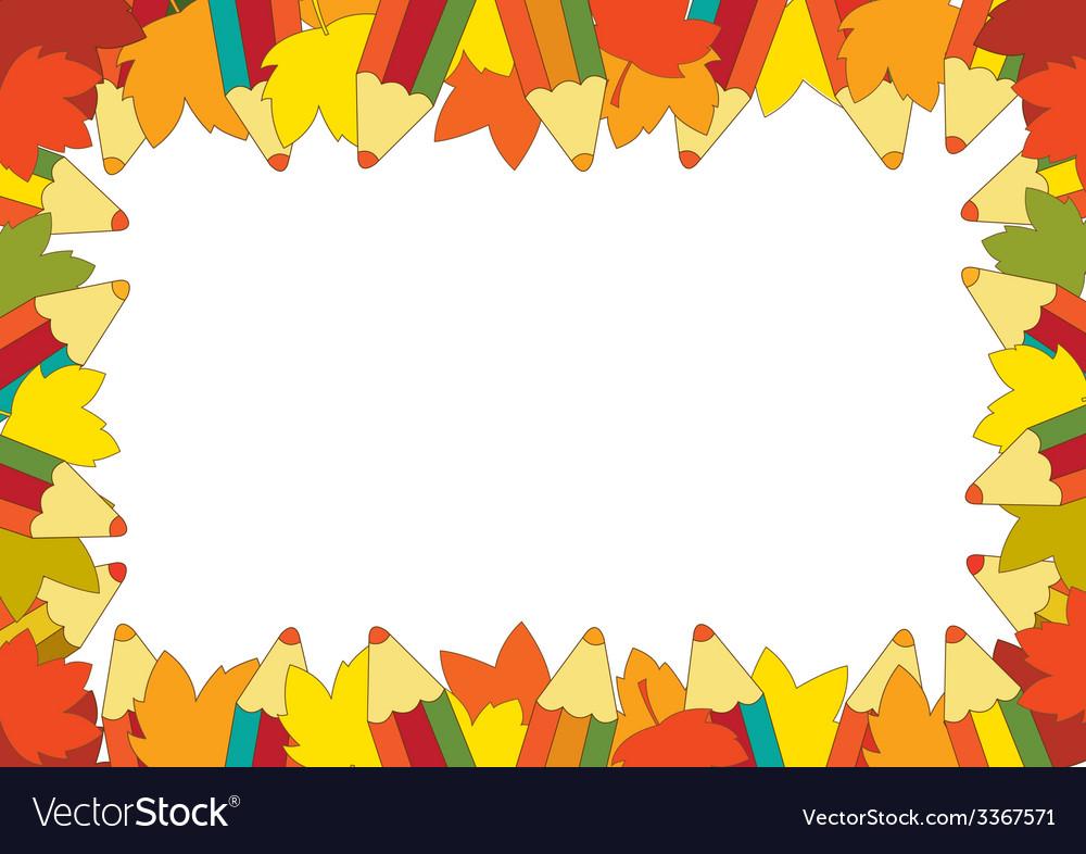Autumn pencil frame vector | Price: 1 Credit (USD $1)