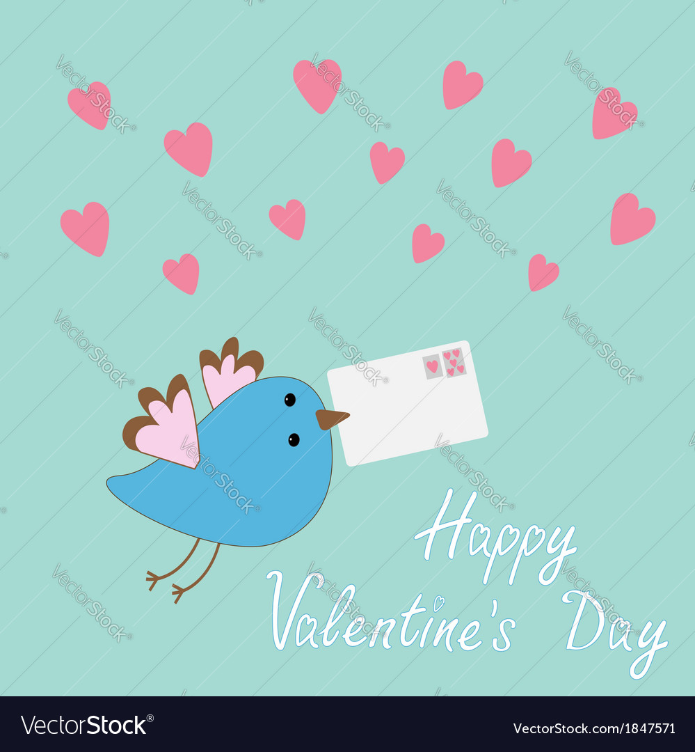 Bird with letter and hearts happy valentine day vector | Price: 1 Credit (USD $1)