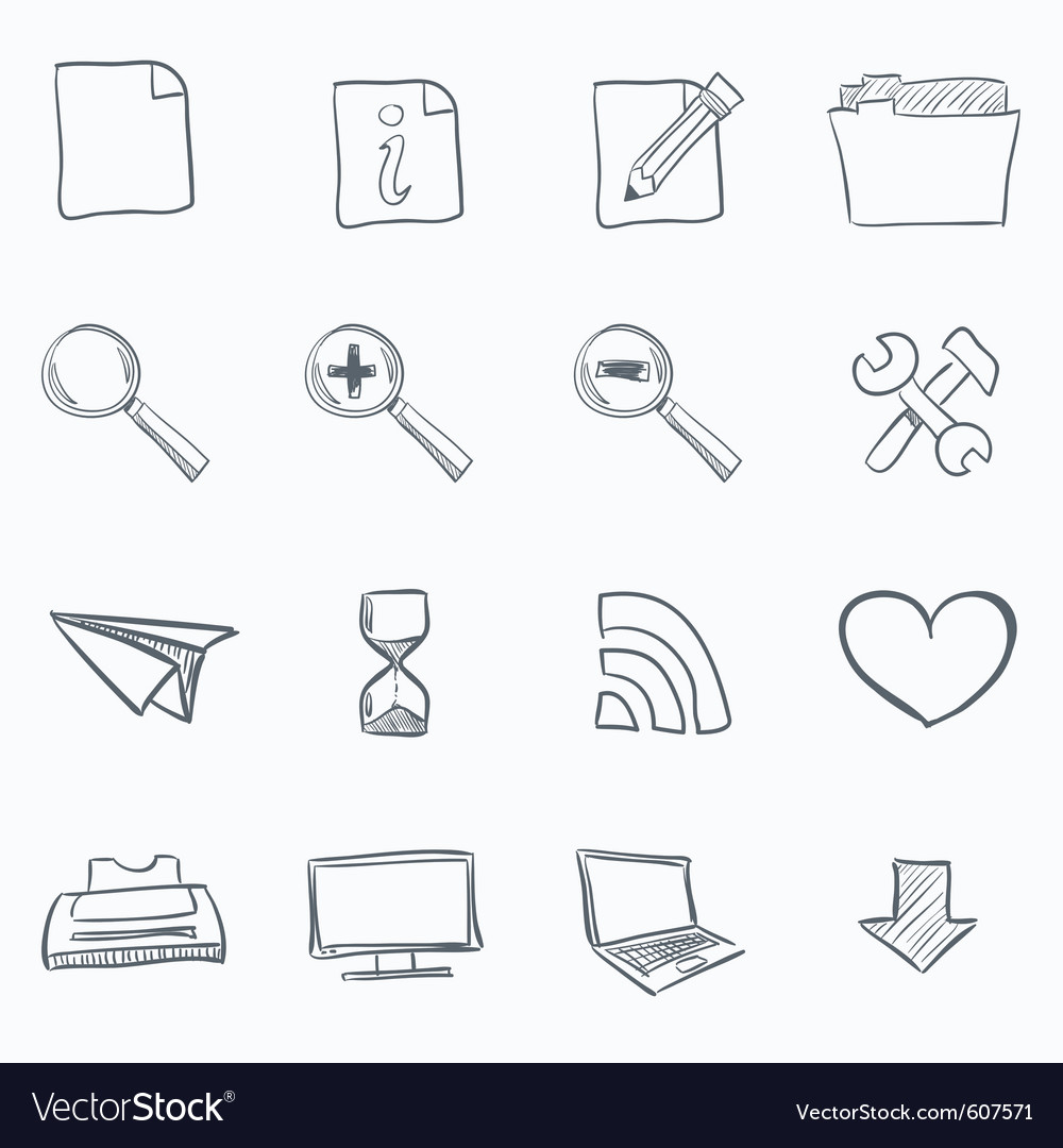 Browser sketch icons vector | Price: 1 Credit (USD $1)