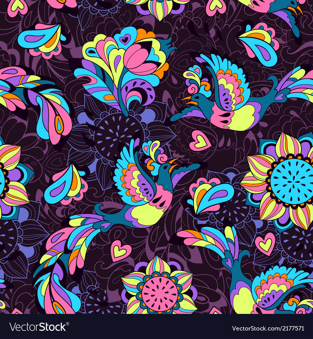 Colorful pattern with bird phoenix and sunflower vector | Price: 1 Credit (USD $1)