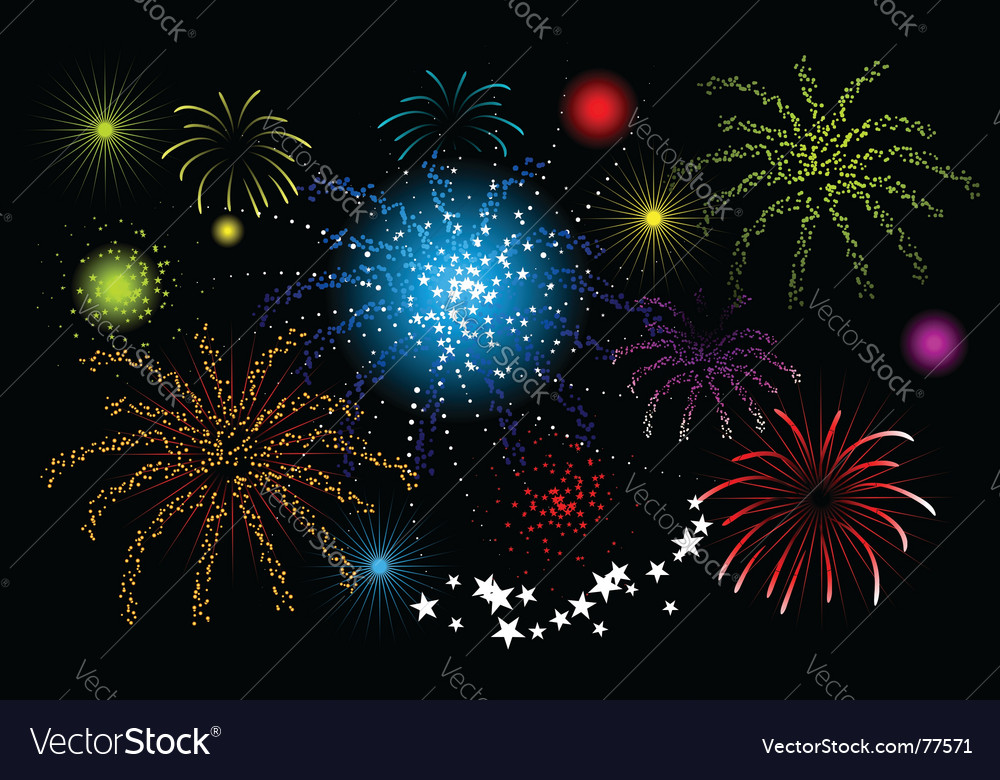 Fireworks holiday night vector | Price: 1 Credit (USD $1)