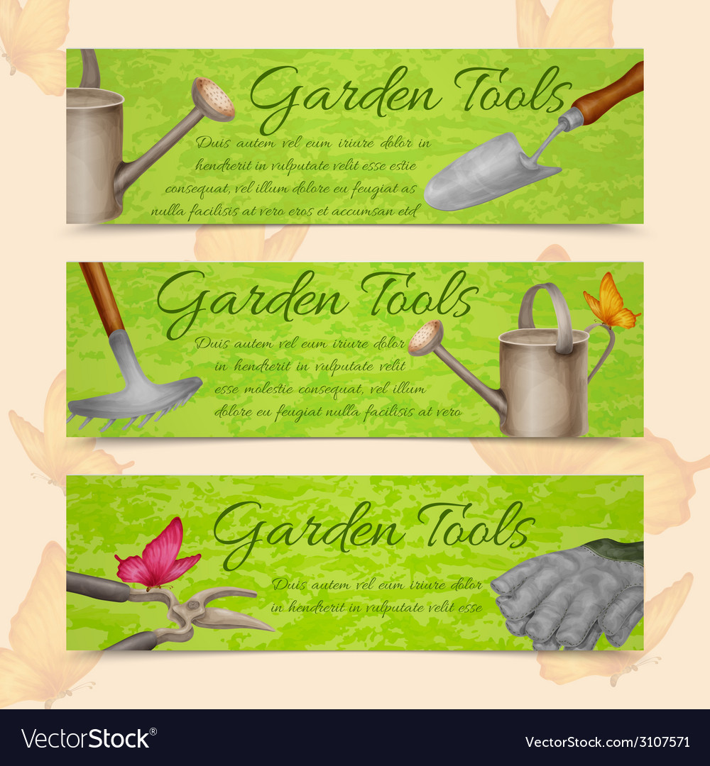 Garden tools horizontal banners vector | Price: 1 Credit (USD $1)