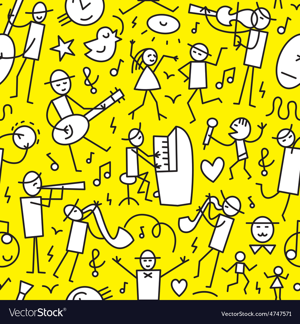 Musicians seamless background vector