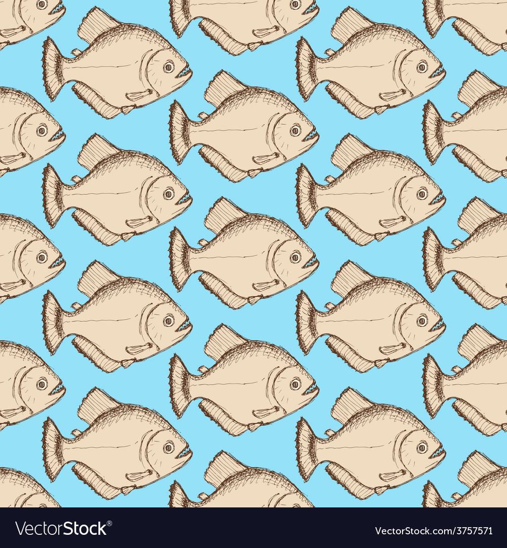 Sketch dangeous piranha in vintage style vector | Price: 1 Credit (USD $1)