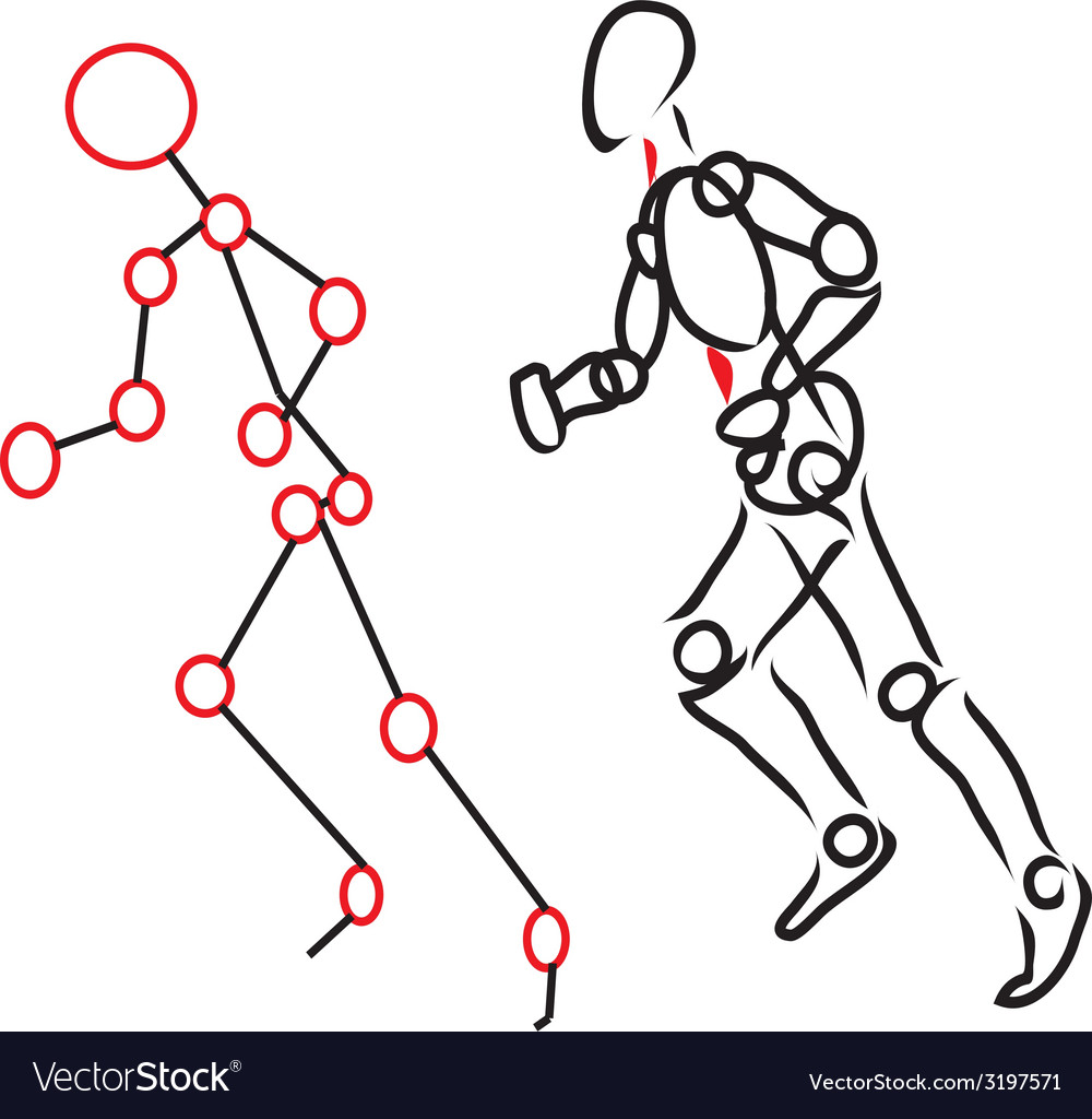 Sketch running person vector | Price: 1 Credit (USD $1)