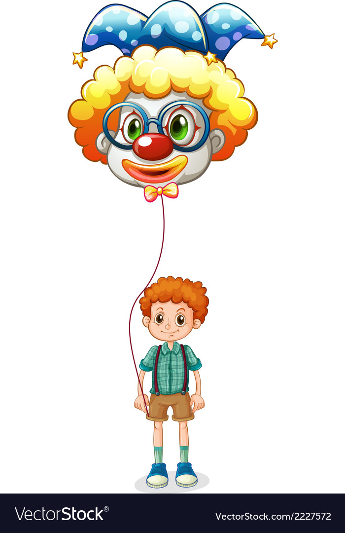 A boy holding a clown balloon with an eyeglass vector | Price: 1 Credit (USD $1)