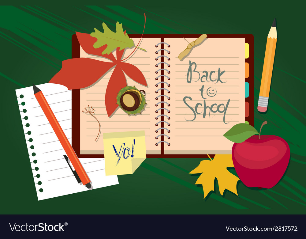 Back to school organizer and autumn leaves vector | Price: 1 Credit (USD $1)