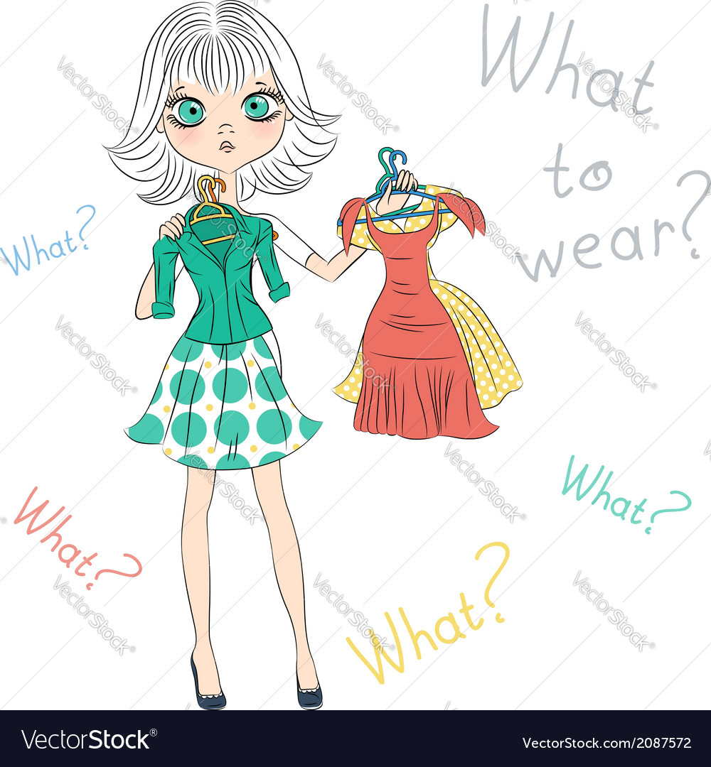 Beautiful surprised fashion girl trying on dresses vector | Price: 1 Credit (USD $1)
