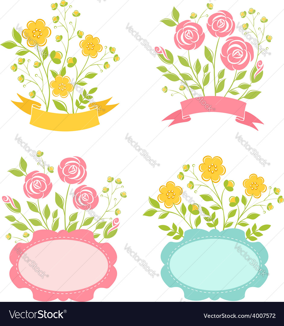 Floral romantic frames set vector | Price: 1 Credit (USD $1)