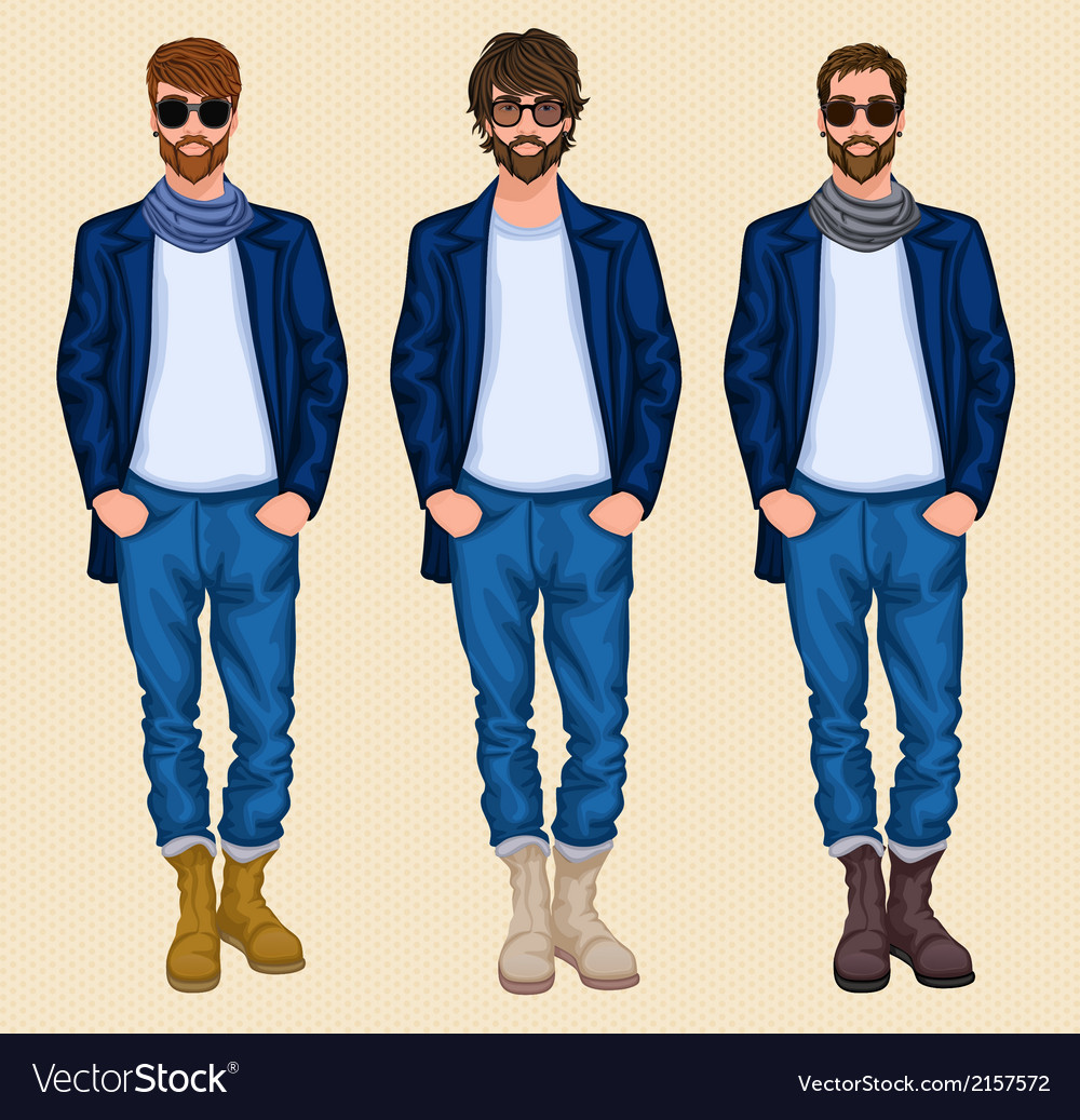 Hipster man set vector | Price: 1 Credit (USD $1)