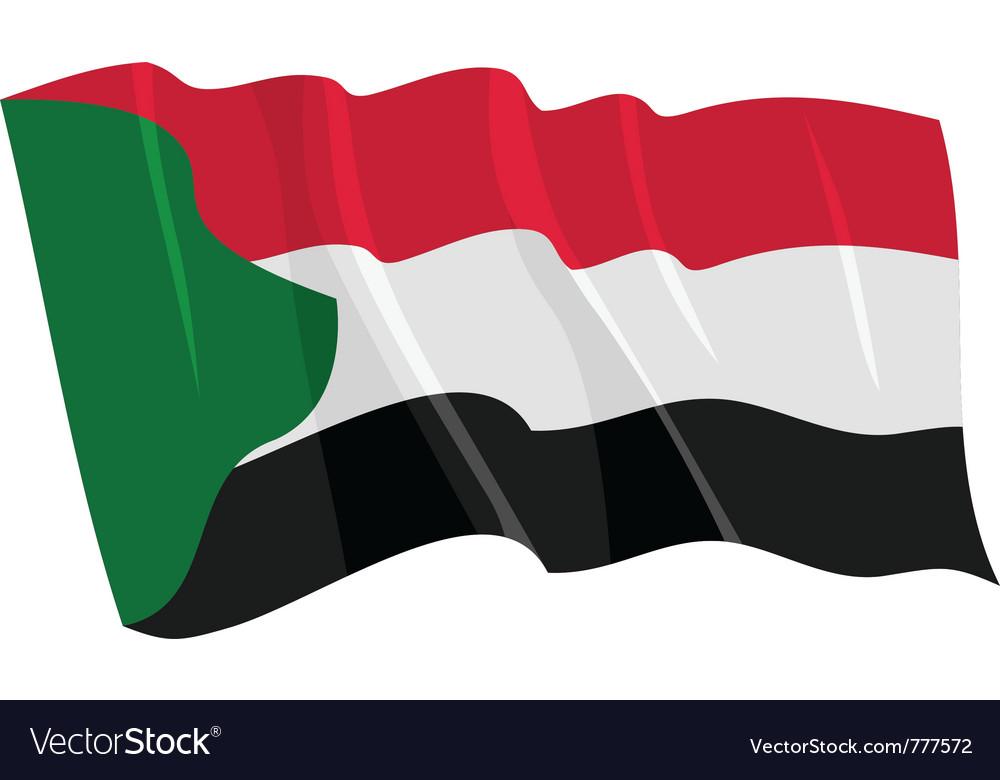 Political waving flag of sudan vector | Price: 1 Credit (USD $1)