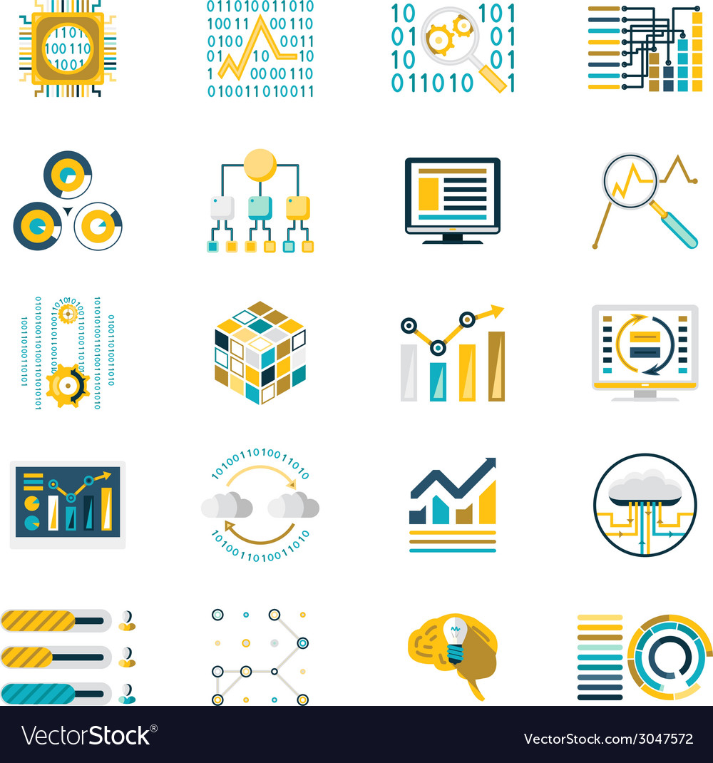 Processing storage of large data volume icons vector | Price: 1 Credit (USD $1)