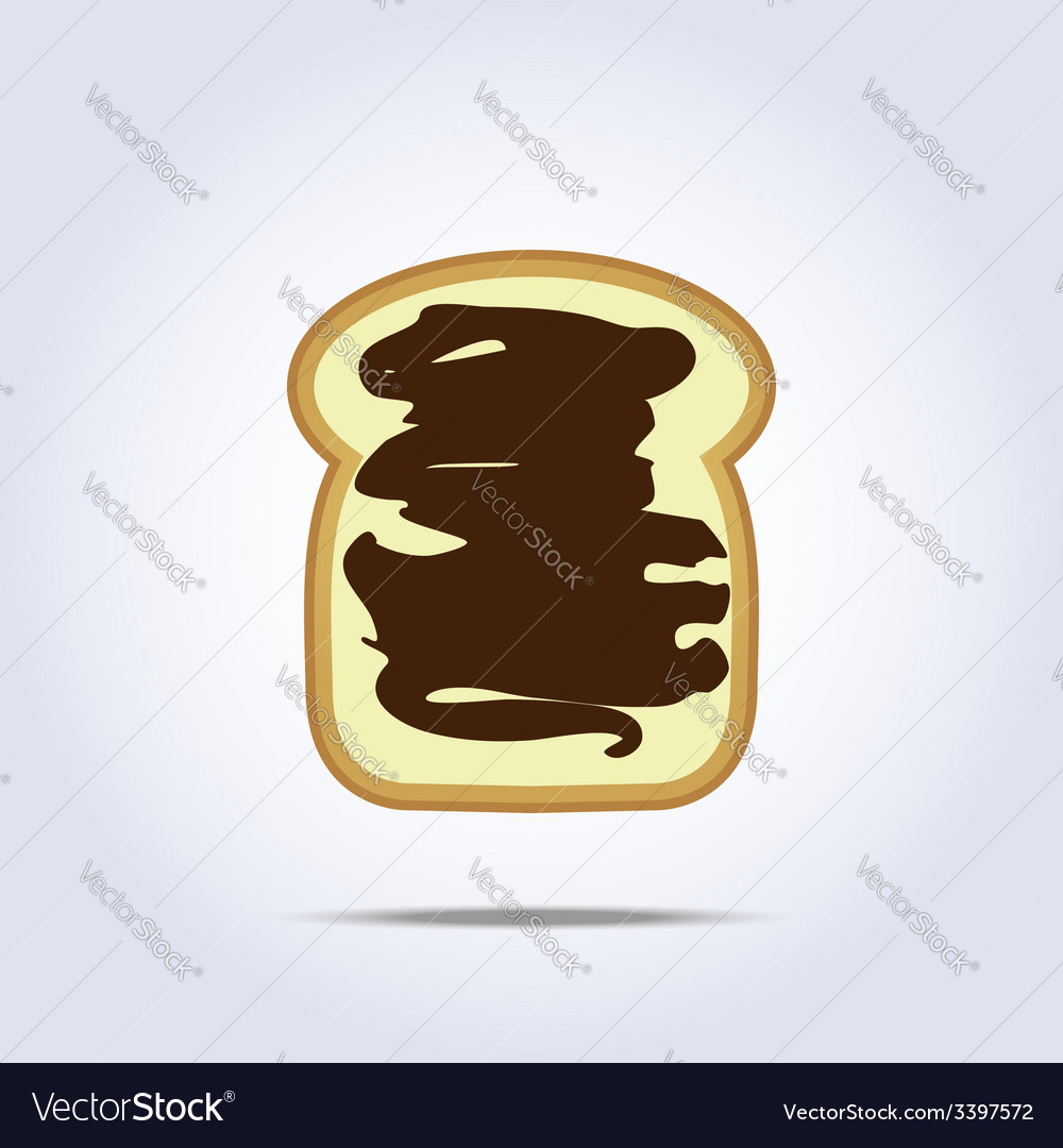 White bread toast icon with chocolate vector | Price: 1 Credit (USD $1)