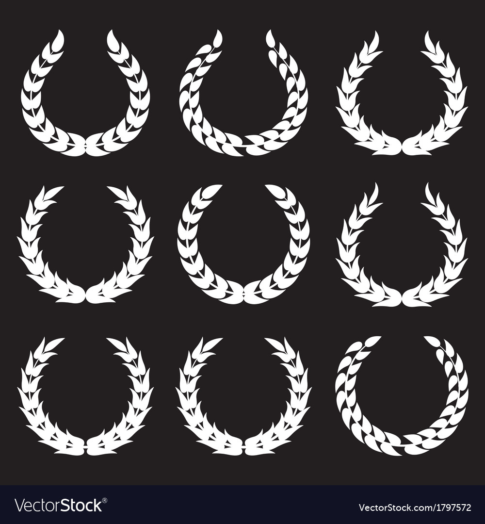 White laurel wreaths 1 vector | Price: 1 Credit (USD $1)
