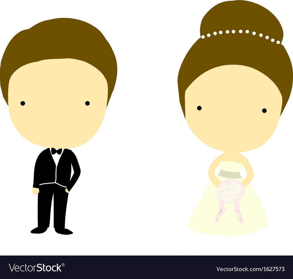 Bride and groom cartoons vector | Price: 1 Credit (USD $1)
