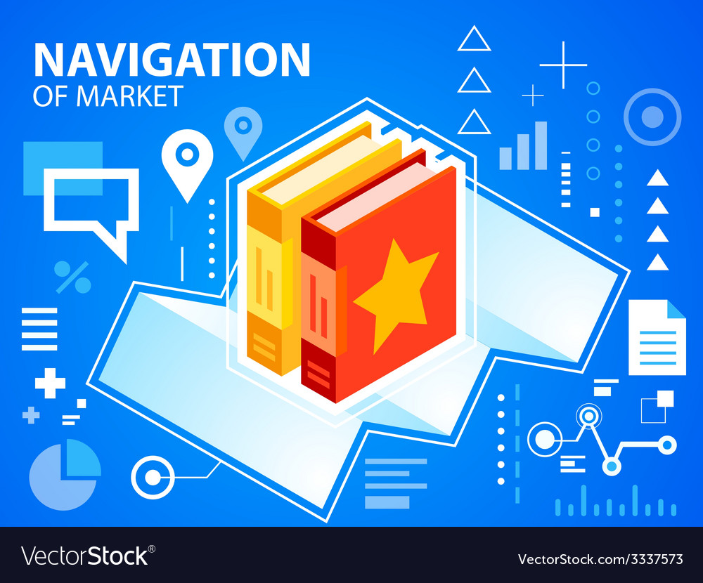 Bright navigate map and books on blue backgr vector | Price: 3 Credit (USD $3)