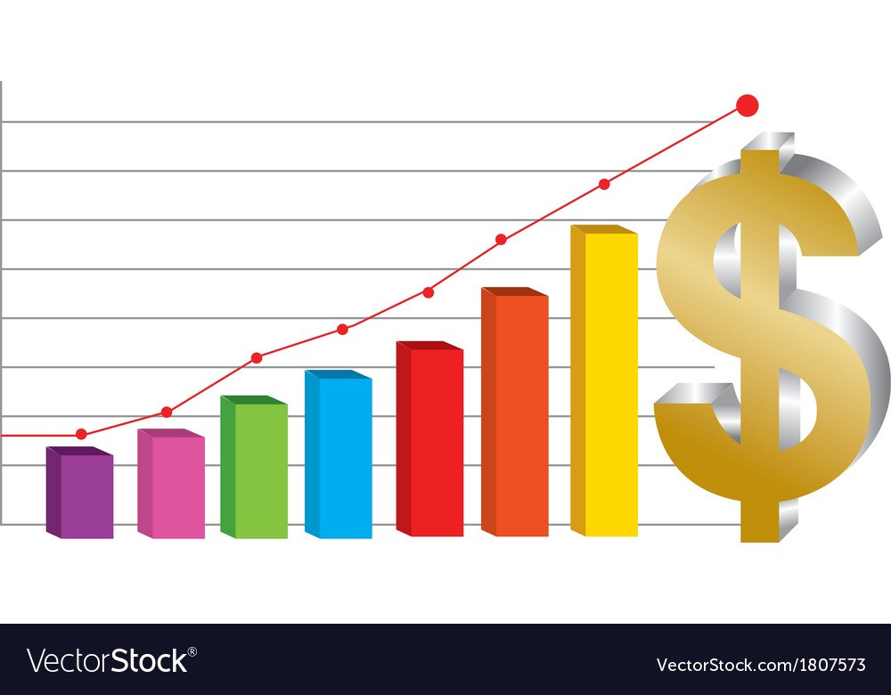 Business graph with gold dollar sign vector   Price: 1 Credit (USD $1)