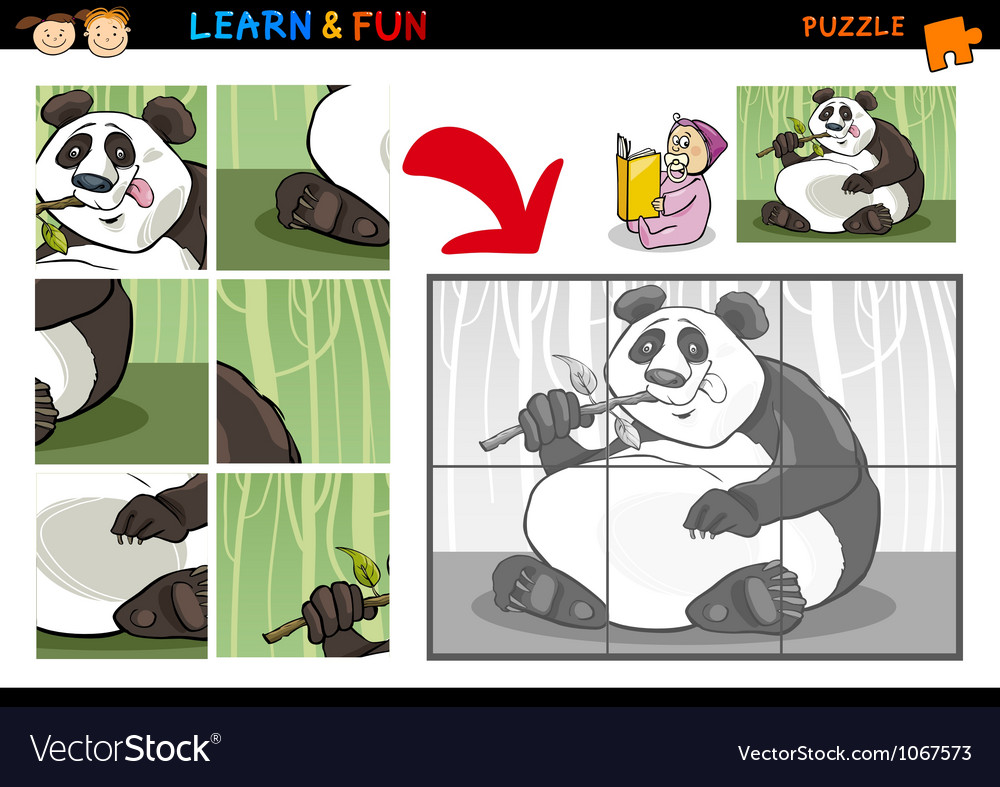 Cartoon panda bear puzzle game vector | Price: 3 Credit (USD $3)